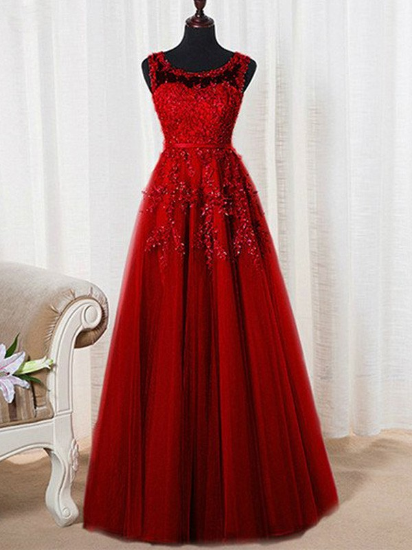 Tulle Scoop Floor-Length Red Prom Dresses