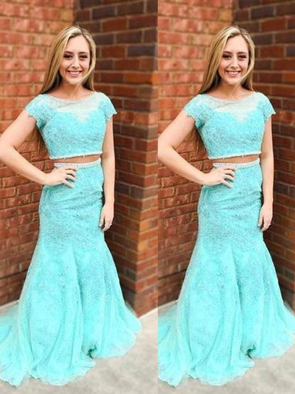 Mermaid Lace Short Sleeves Scoop Brush Train Prom Dresses with Beading