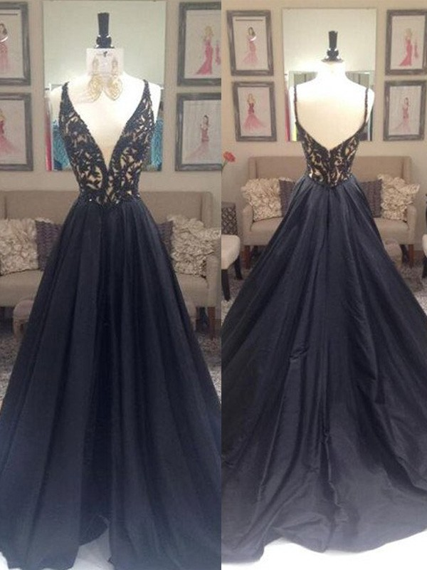 Taffeta A-Line Brush Train V-neck Black Prom Dresses