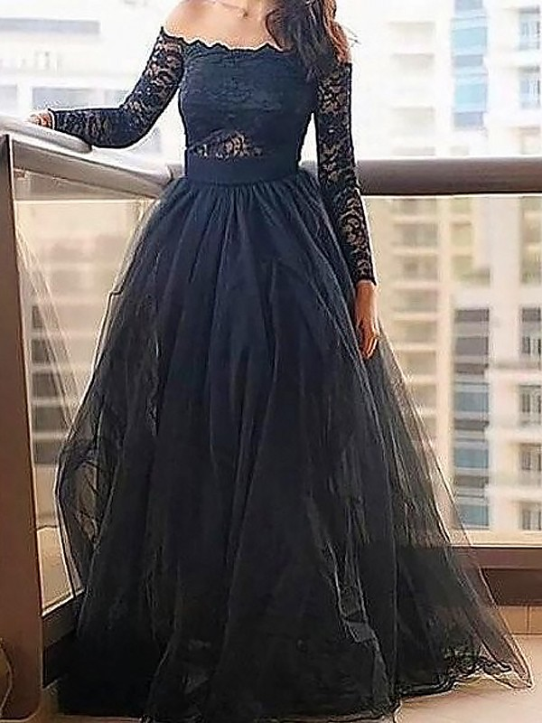 A-Line Tulle Long Sleeves Off-the-Shoulder Floor-Length Black Prom Dresses