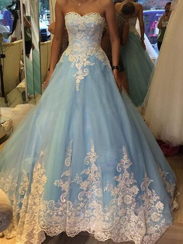 Ball Gown Sweetheart Brush Train Blue Prom Dresses with Applique
