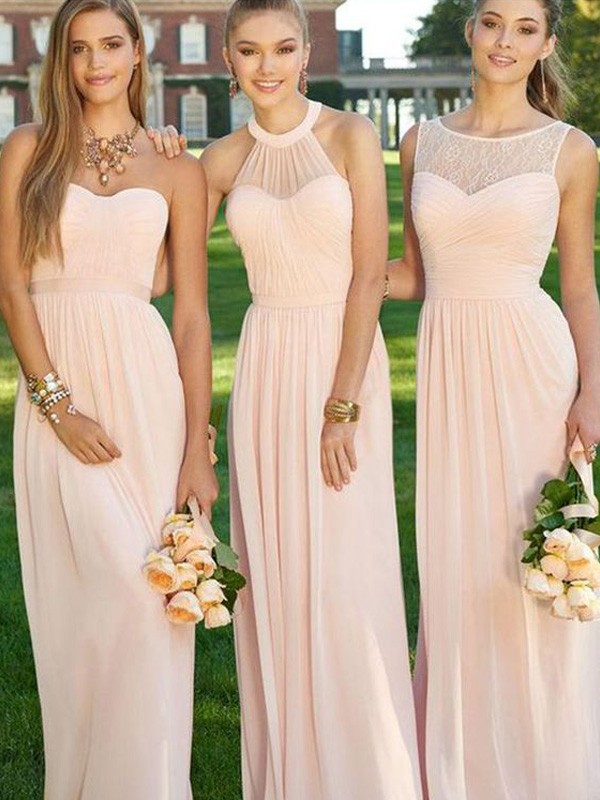 A-Line Floor-Length Pink Bridesmaid Dresses