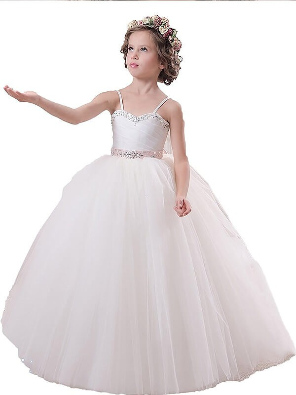 Ball Gown Spaghetti Straps Floor-Length Ivory Flower Girl Dresses