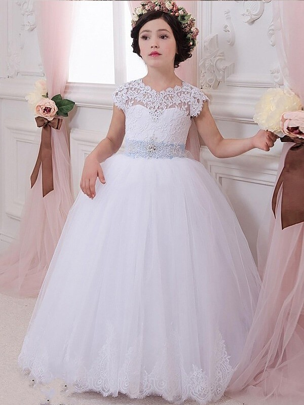 Scoop Floor-Length White Flower Girl Dresses with Sash/Ribbon/Belt