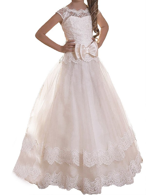 Scoop Floor-Length Ivory Flower Girl Dresses with Sash/Ribbon/Belt