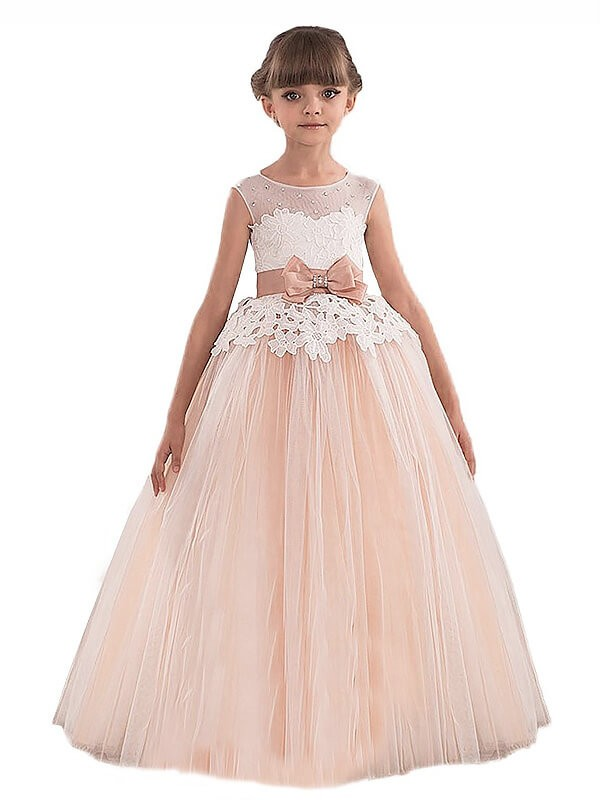 Tulle Scoop Floor-Length Champagne Flower Girl Dresses