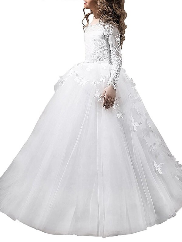Tulle Long Sleeves Scoop Floor-Length Flower Girl Dresses