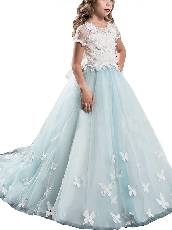 Light Sky Blue A-Line Scoop Floor-Length Flower Girl Dresses with Lace