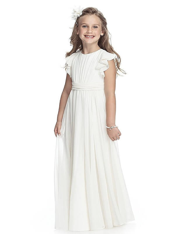 Floor-Length White Scoop Flower Girl Dresses