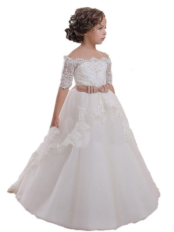 Tulle Brush Train Off-the-Shoulder Ivory Flower Girl Dresses