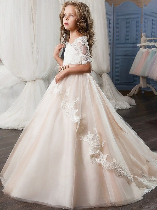 Off-the-Shoulder Floor-Length Pink Flower Girl Dresses with Sash/Ribbon/Belt