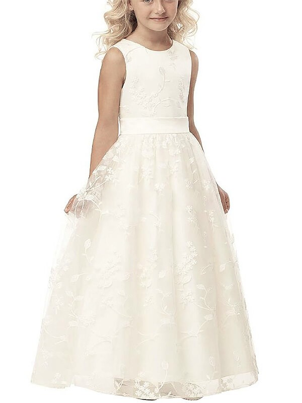 Scoop Floor-Length Ivory Flower Girl Dresses with Applique