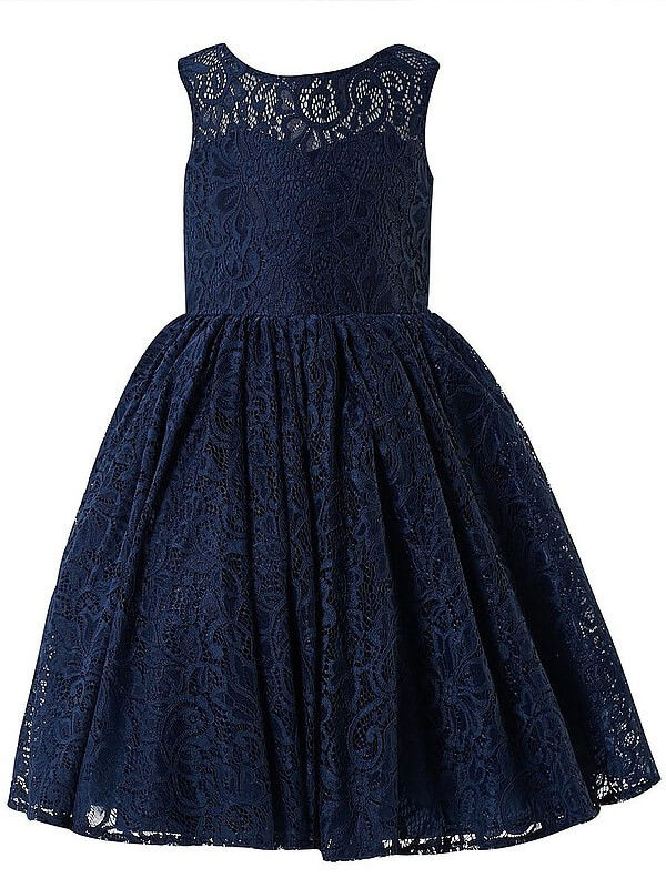 A-Line Scoop Tea-Length Dark Navy Flower Girl Dresses