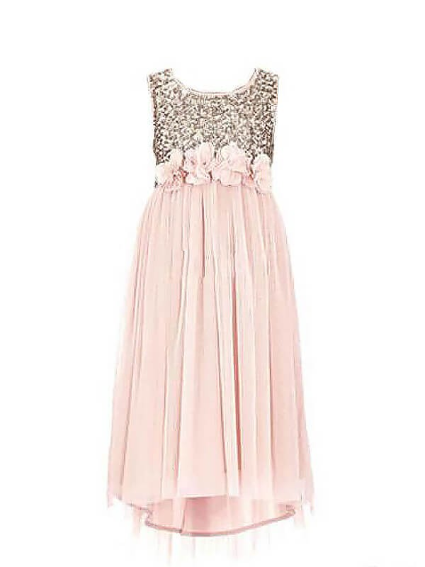 Chiffon A-Line Floor-Length Scoop Pink Flower Girl Dresses