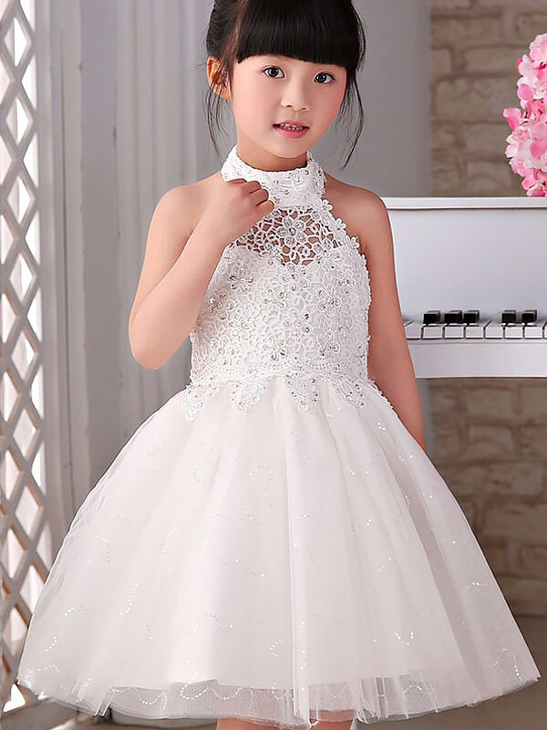White Halter Tulle Knee-Length Flower Girl Dresses