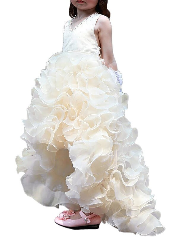 A-Line Organza V-neck Asymmetrical Ivory Flower Girl Dresses