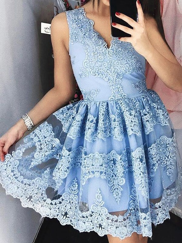 A-Line V-neck Short/Mini Blue Prom Dresses