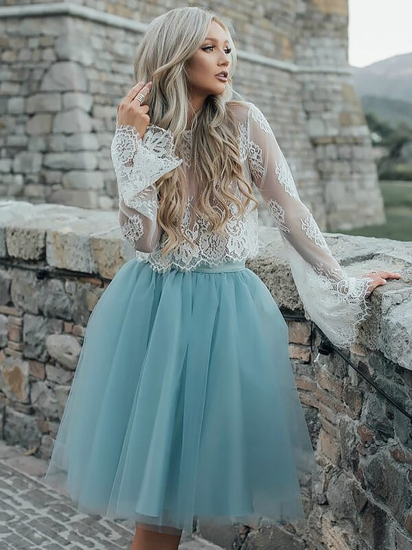 Tulle Long Sleeves Scoop Short/Mini Light Sky Blue Prom Dresses