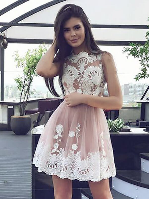 Pink A-Line Scoop Short/Mini Prom Dresses with Lace