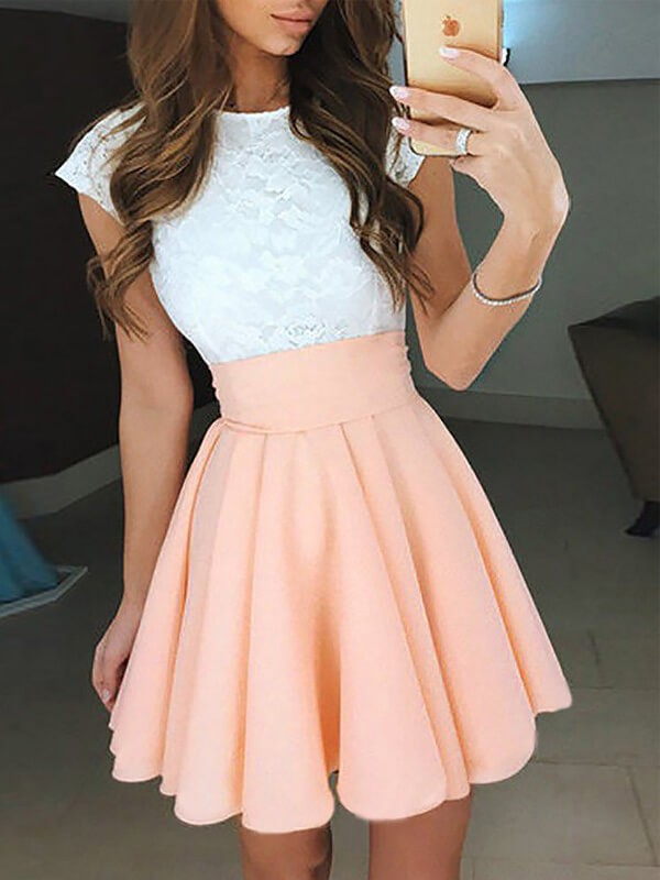 A-Line Chiffon Jewel Short/Mini Pink Prom Dresses