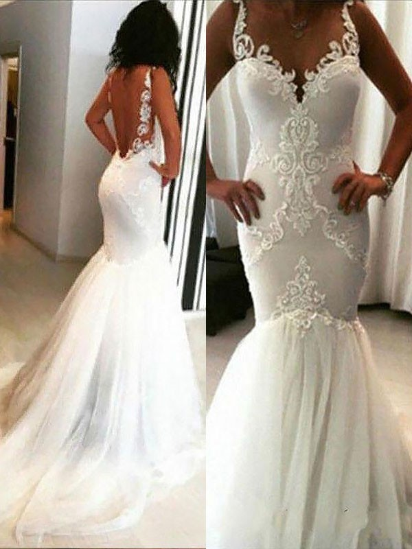 Mermaid Spaghetti Straps Chapel Train Ivory Wedding Dresses