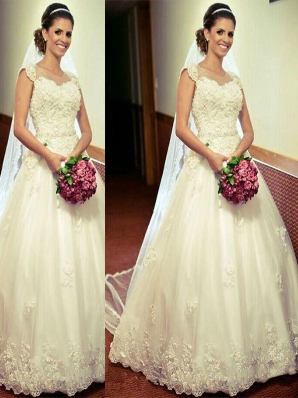 Ball Gown Sweetheart Floor-Length Ivory Wedding Dresses