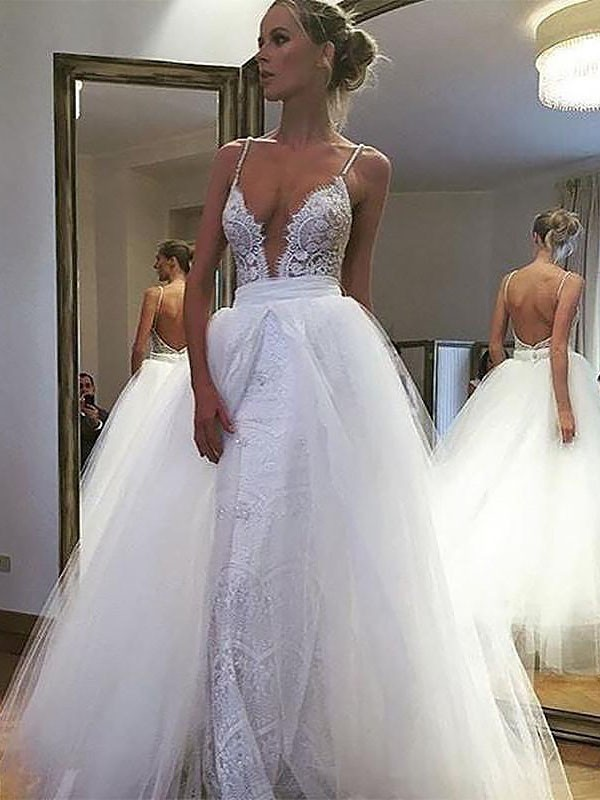 Ivory Spaghetti Straps Tulle Floor-Length Wedding Dresses