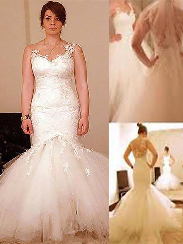Organza Straps Floor-Length Ivory Wedding Dresses