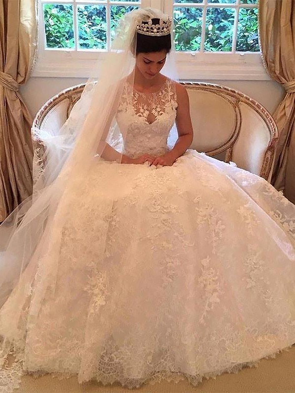 A-Line Lace Scoop Court Train Wedding Dresses with Applique