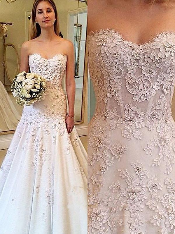 Ivory A-Line Sweetheart Court Train Wedding Dresses