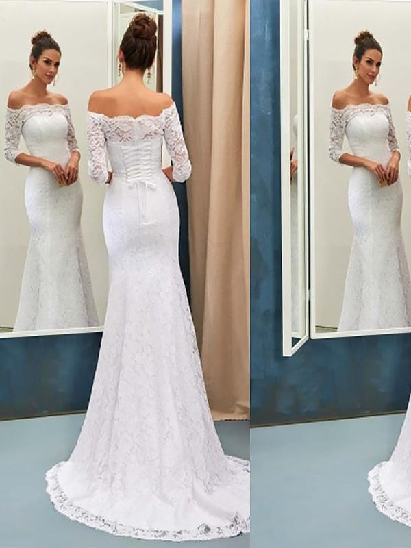 Mermaid Long Sleeves Off-the-Shoulder Brush Train Ivory Wedding Dresses