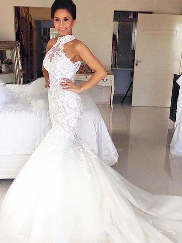 Mermaid Tulle Halter Court Train Wedding Dresses