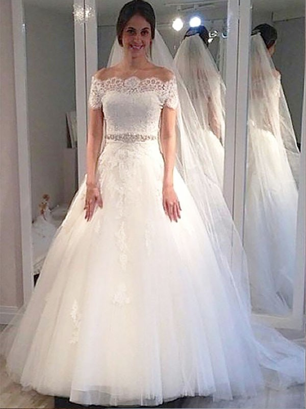 Ivory Ball Gown Off-the-Shoulder Brush Train Wedding Dresses
