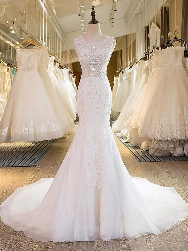 Tulle Mermaid Brush Train Scoop Ivory Wedding Dresses