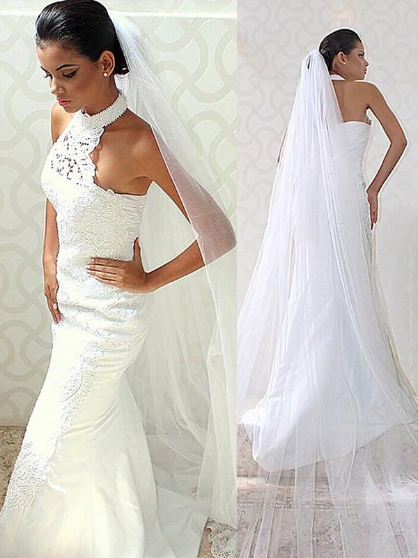Ivory Mermaid Halter Brush Train Wedding Dresses