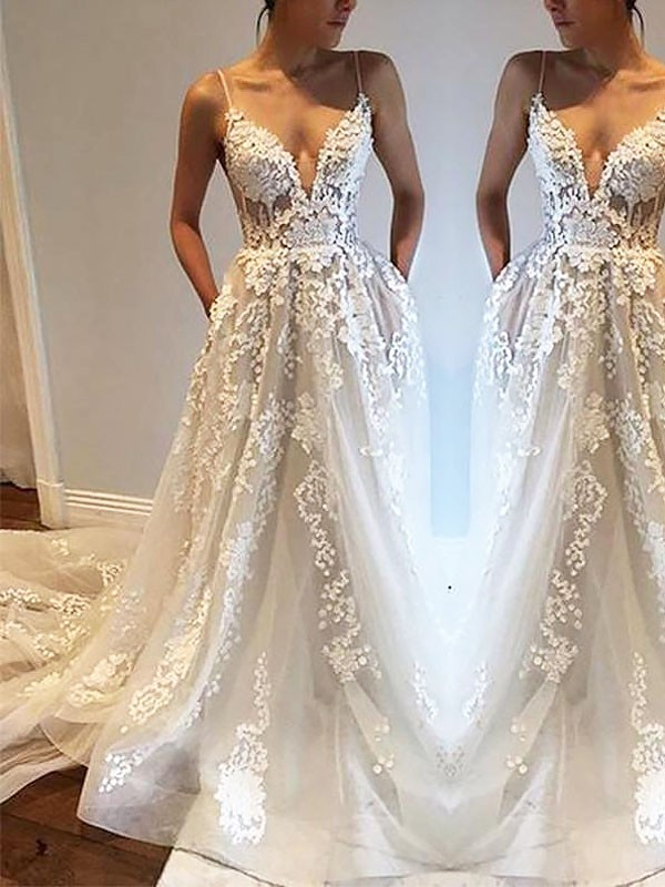 Spaghetti Straps Court Train Ivory Wedding Dresses