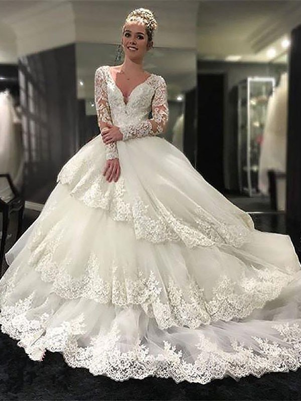 Tulle Long Sleeves V-neck Court Train Ivory Wedding Dresses
