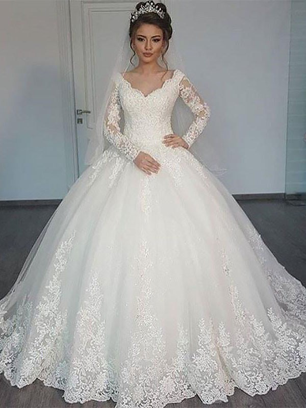 Long Sleeves Ball Gown V-neck Court Train Ivory Wedding Dresses