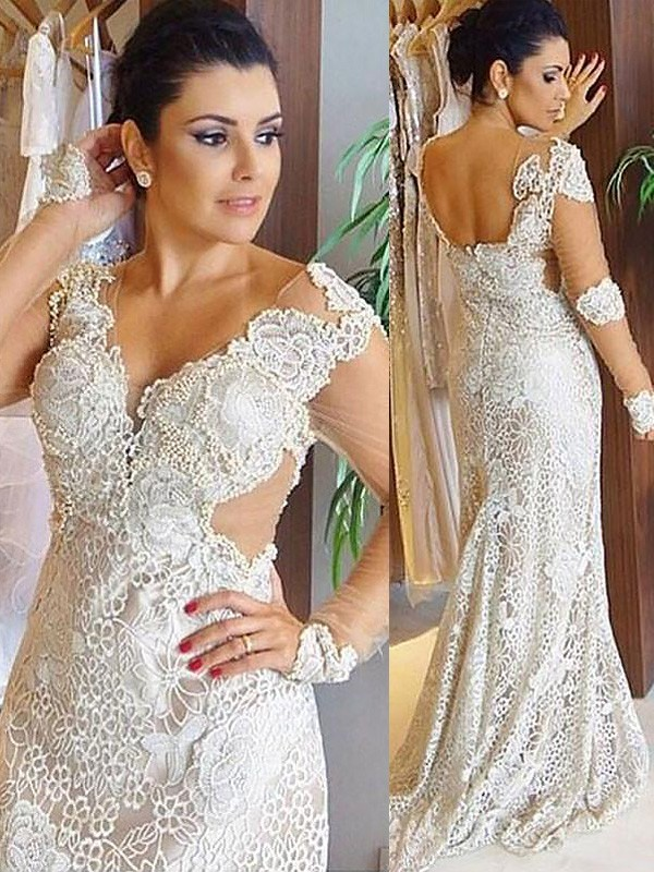 Sheath Lace Long Sleeves V-neck Brush Train Wedding Dresses