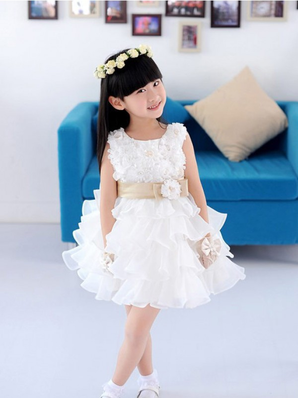 A-Line Organza Scoop Short/Mini White Flower Girl Dresses