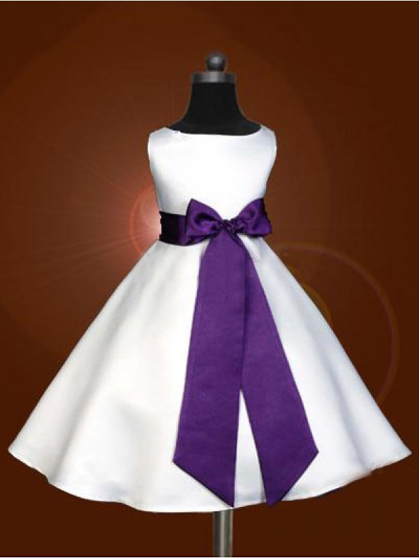 A-Line Scoop Ankle-Length White Flower Girl Dresses