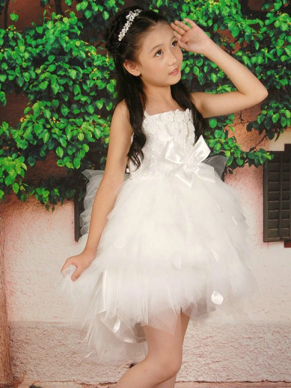Short/Mini White Straps Flower Girl Dresses