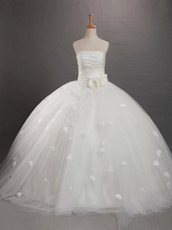 Tulle Strapless Floor-Length White Flower Girl Dresses
