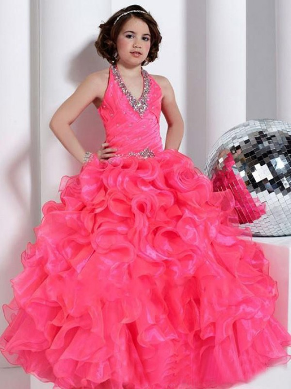 Organza Ball Gown Long Halter Fuchsia Flower Girl Dresses