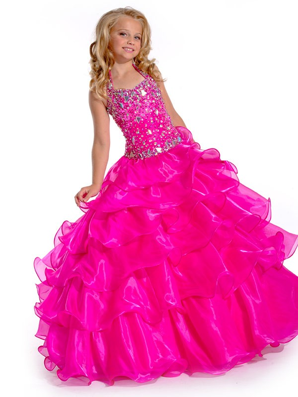 Ball Gown Halter Floor-Length Fuchsia Flower Girl Dresses