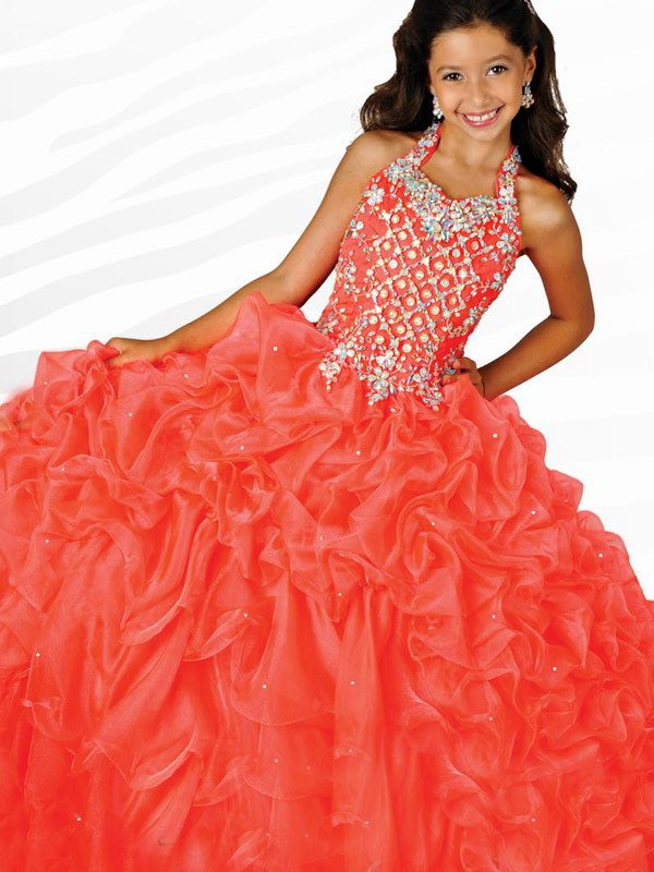 Ball Gown Halter Long Orange Flower Girl Dresses with Beading