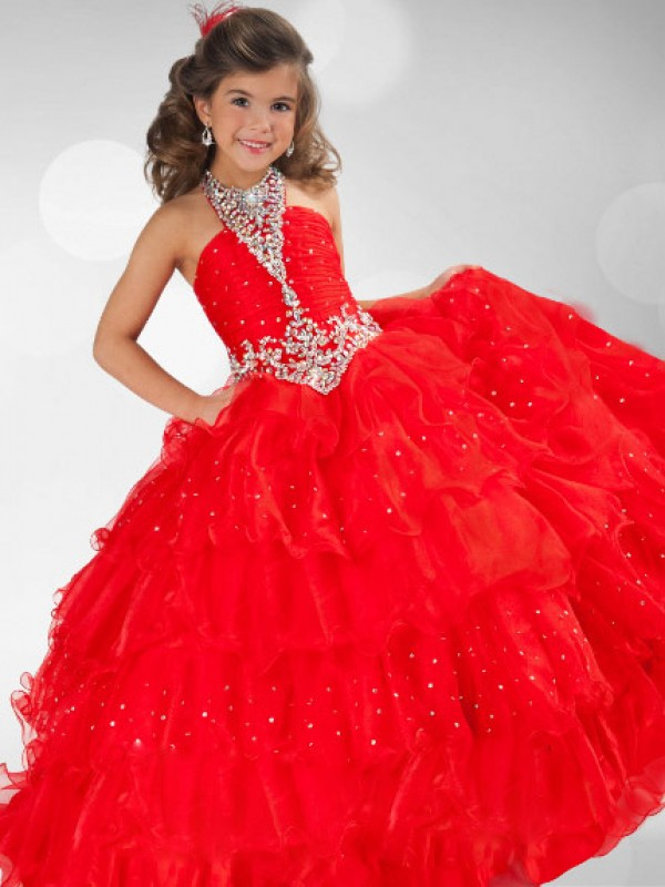 Organza Halter Floor-Length Red Flower Girl Dresses