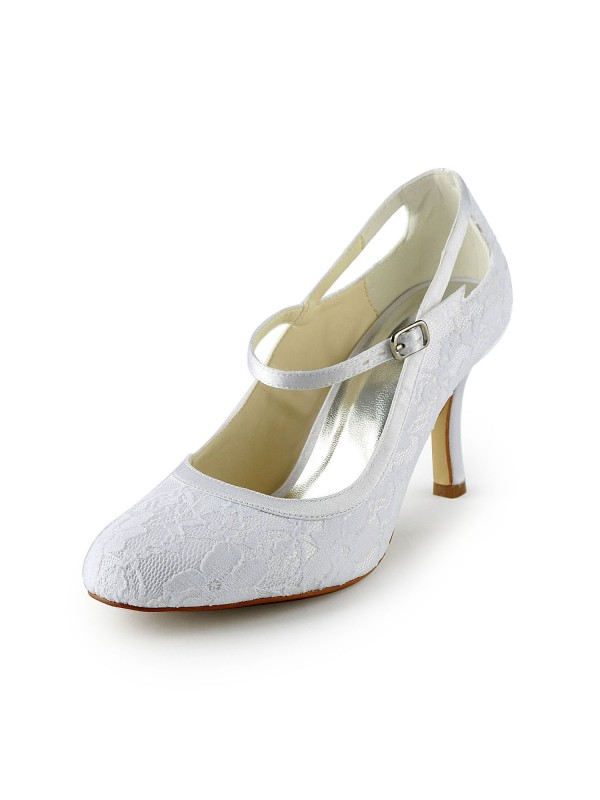Pretty Satin Stiletto Heel Pumps With Buckle White Wedding Shoes