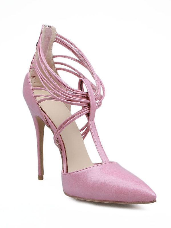 Stiletto Heel Patent Leather Closed Toe With Zipper High Heels