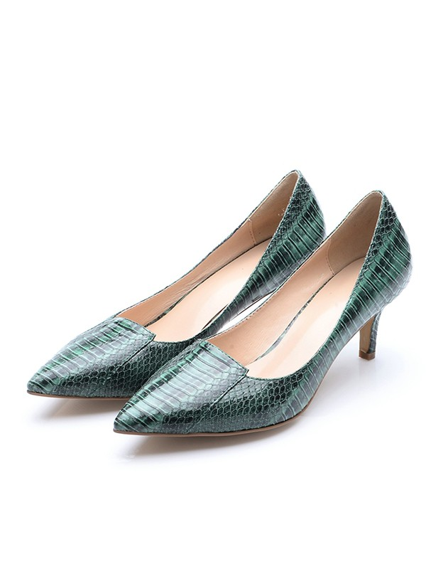 Closed Toe Cone Heel Patent Leather With Crocodile Print High Heels
